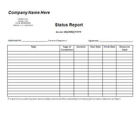 daily status report template status report template free business templates