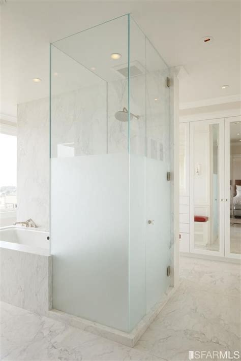 frosted glass in bathroom half frosted glass shower decorate bathroom pinterest