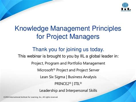 Knowledge Management Projects For Mba by Knowledge Management Principles For Project Managers