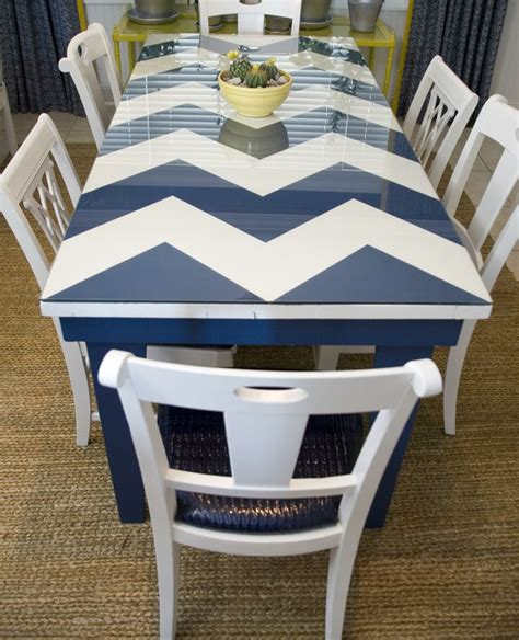 chevron to the rescue of this old table found at a flea market love the navy white color
