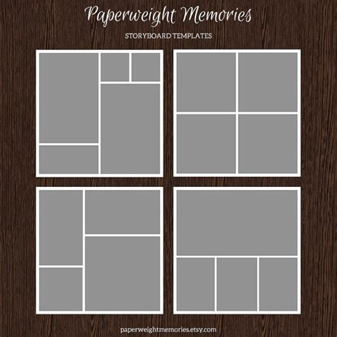 instant download storyboard photoshop templates by 20x20 photo storyboard templates photo collage template