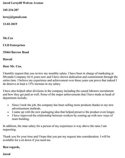salary review letter employee