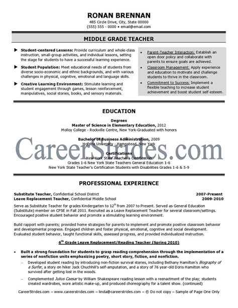 middle school teacher resume sle exle