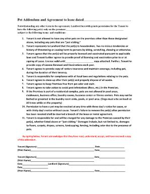 Amendment To Rental Agreement Forms And Templates Fillable Printable Sles For Pdf Word Pet Addendum Template
