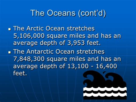 Average Depth by World Continents And Oceans
