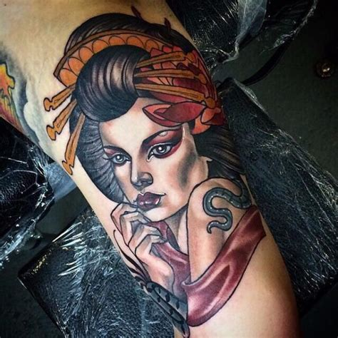 tatouage portrait new geisha par cloak and dagger