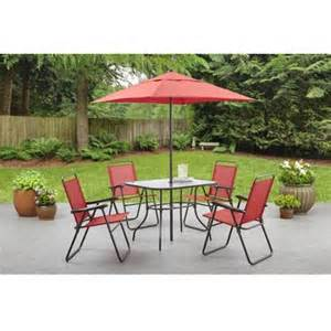 Six Piece Patio Set by Mainstays Searcy Creek 6 Piece Folding Outdoor Dining Set