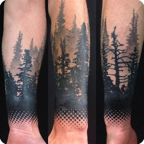 pine tree wrist tattoo instagram media by alex tattooer i want this on my thigh