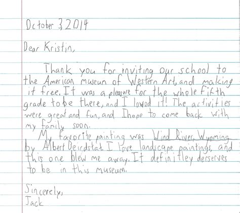 thank you letter to 5th grade student feedback american museum of western