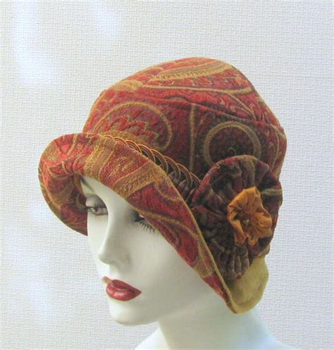 womens vintage 1920s flapper style hat paisly print