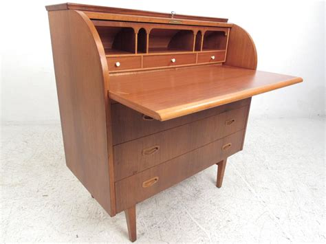 mid century modern teak roll top desk for sale at 1stdibs