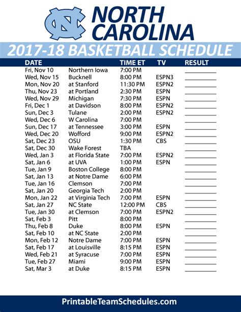printable unc basketball schedule printable north carolina basketball schedule 2017 18