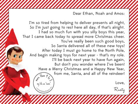 printable elf on the shelf return letter letters archives elf on the shelf letters