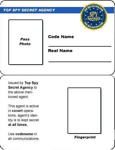 create printable id cards credit card spy id card