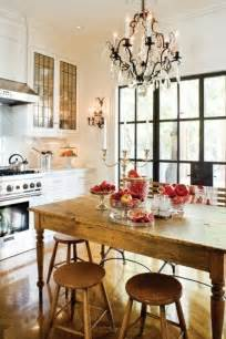 Kitchen Table Chandeliers Rustic Wooden Dining Table With Red Fruit On Table And