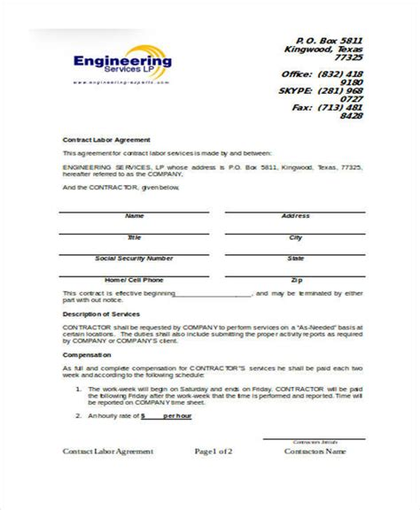 labour contract template 28 images of labor contract template helmettown