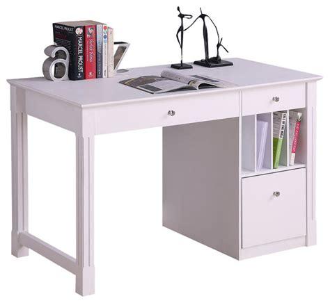 Walker Edison Deluxe Solid Wood Desk In White Modern White Solid Wood Desk