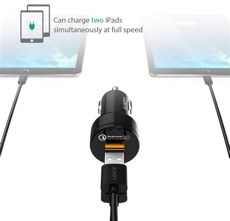 Aukey Usb Charger With Qualcomm Charge 20 Aipower aukey usb car charger 2 port 36w with qc 3 0 aipower