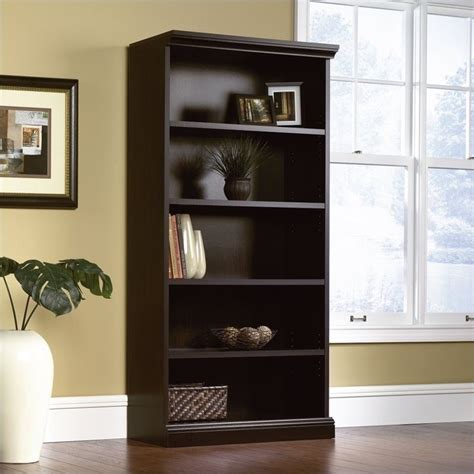 sauder black bookcase library 5 shelf bookcase in estate black 412177