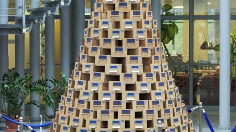 christmas tree made from catalog boxes university