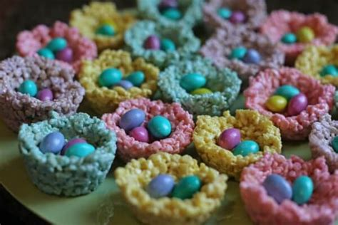 colored rice krispie treats peeps rice krispie birds nests easy easter treat