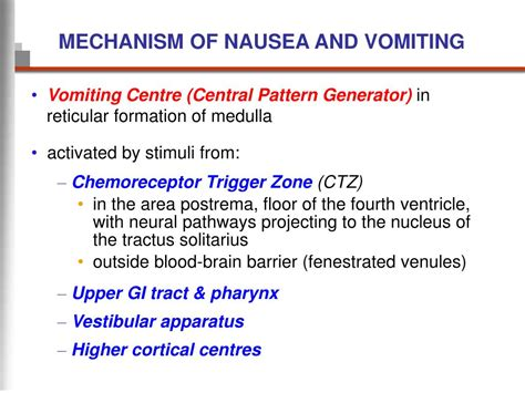 central pattern generator vomiting ppt management of nausea and vomiting in palliative care