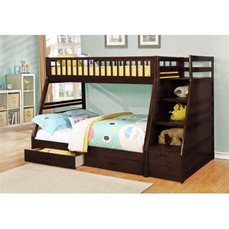 bunk bed storage wildon home dakota twin over full bunk bed with storage finish espresso