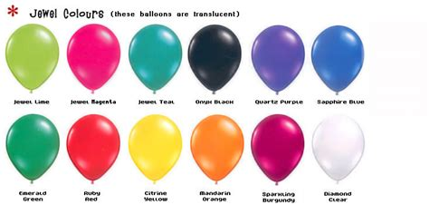 Best Colour Names by Colour Chart Mad Balloons Sydney