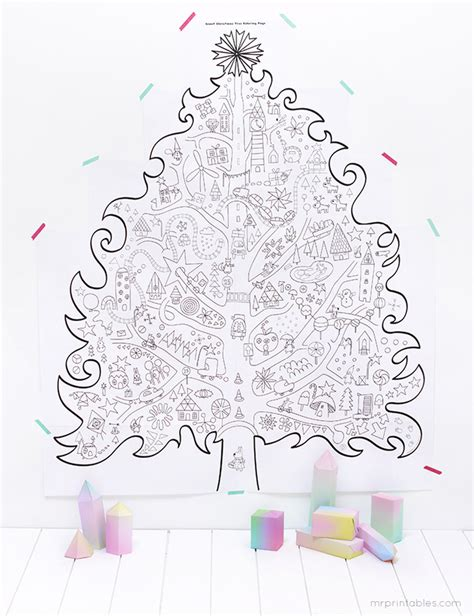 Giant Printable Christmas Tree | free printable 5 coloriages g 233 ants
