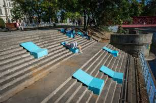 designboom urban furniture neglected riverside steps revived with form fitting sunbed