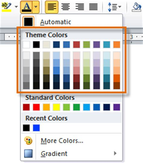 microsoft colour themes lession 18 styles and themes microsoft office