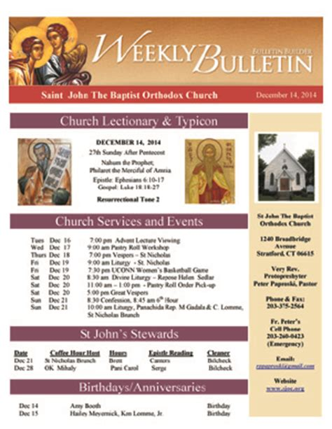 weekly bulletin template weekly bulletin the baptist orthodox church