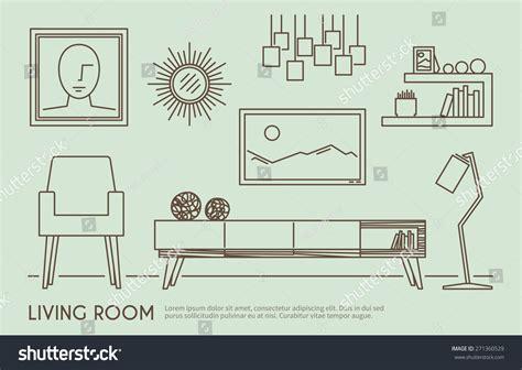 room layout vector living room interior design with outline furniture set