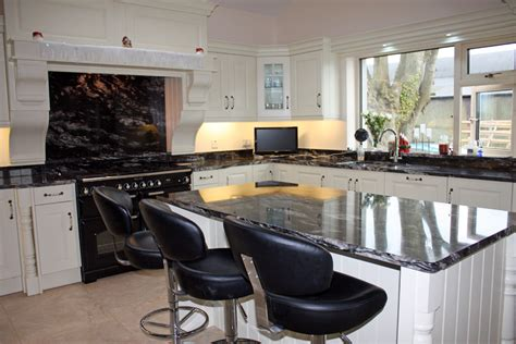 Kitchens With Black Countertops Black Granite Countertop Country Style Kitchen Painted