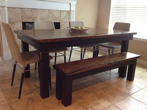 black bench table monica s james james farmhouse table dark wood top and