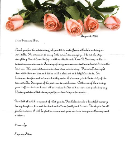 thank you letter to outstanding tapestry banquet and catering