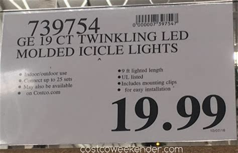 ge led icicle lights costco ge 19 count twinkling led icicle lights
