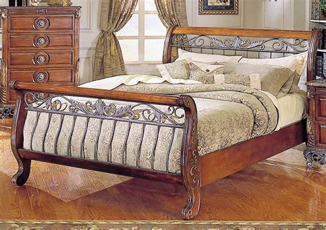 iron sleigh bed warm cherry finish traditional sleigh bed w iron gold tone