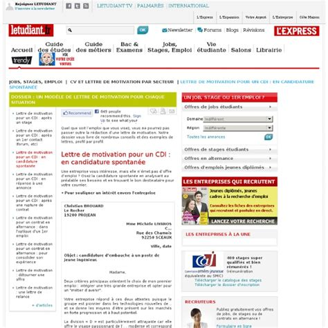 Lettre De Motivation Candidature Spontanée Qualité cover letter exle exemple lettre de motivation