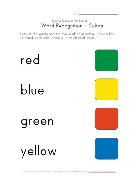 color worksheets word recognition worksheet colors homeschooling