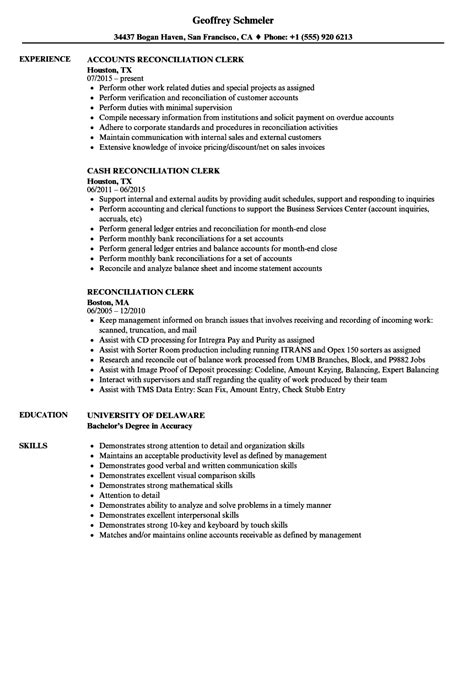 Reconciliation Clerk Sle Resume by Reconciliation Clerk Resume Sles Velvet