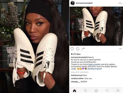 adidas instagram naomi cbell slips up in sponsored instagram post for