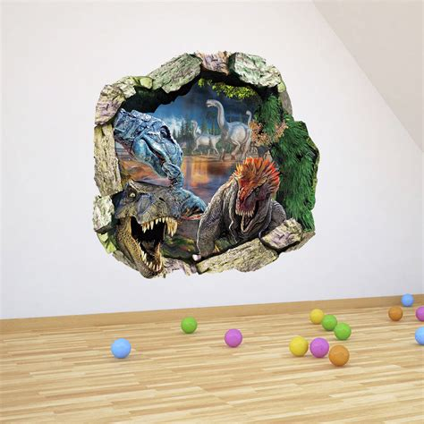 Wall Sticker In The Park 3d dinosaurs through the wall stickers jurassic park home decoration zooyoo1439 diy