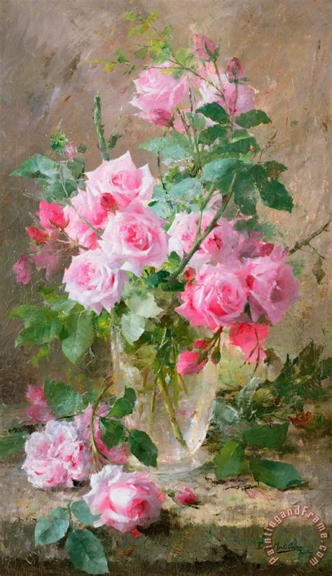 frans mortelmans still of roses in a glass vase