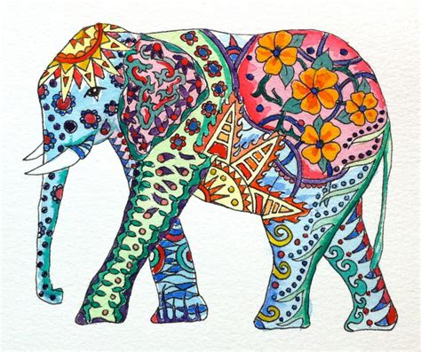 colorful elephant original watercolor elephant with colorful patterns