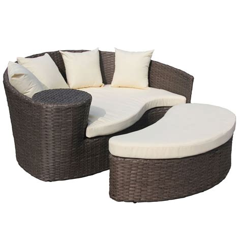 Brown Rattan Curved Day Bed Sofa Footstool Saga Garden Curved Rattan Sofa