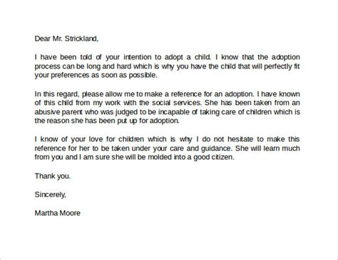 letter of recommendation for adoption template 14 best reference letter format exles to