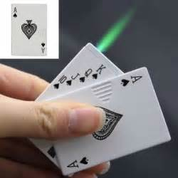 butane lighter aces high poker playing card
