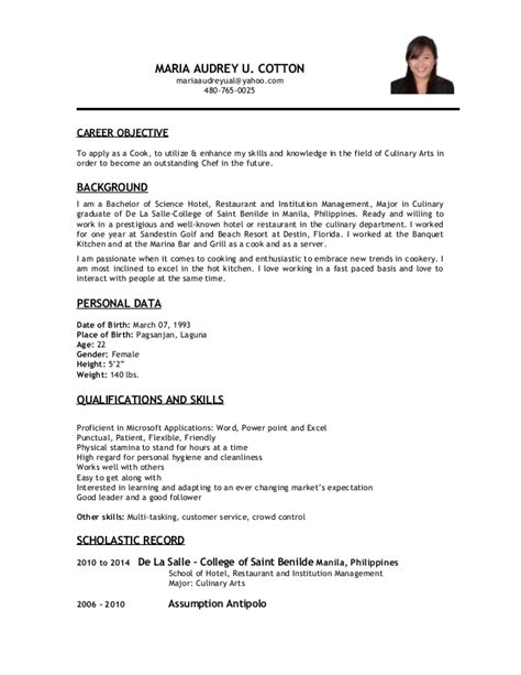 career objective for cook resume