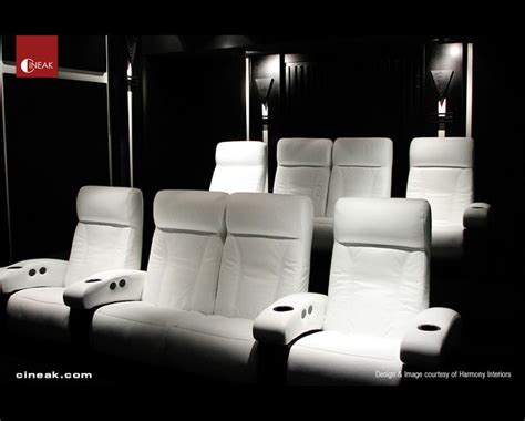 cineak white fortuny seats in home theater modern home